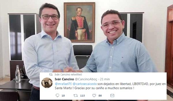 Abogado Cancino anuncia libertad de Carlos Caicedo y Rafael Martínez