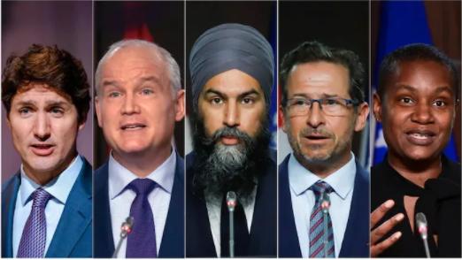 Los políticos que se disputarán el poder en las próximas elecciones en Canadá. De izquierda a derecha el liberal Justin Trudeau, el conservador Erin O'Toole, el neodemócrata Jagmeet Singh, el bloquista quebequense Yves-François Blanchet y del partido Verde Annamie Paul.